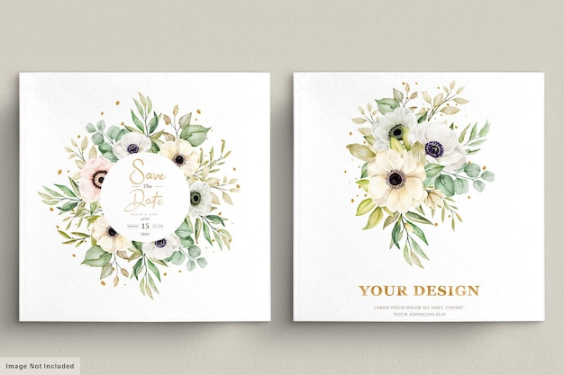 Watercolor poppy anemone floral invitation card