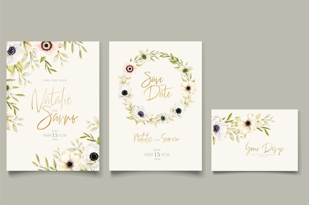 Watercolor poppy anemone invitation card