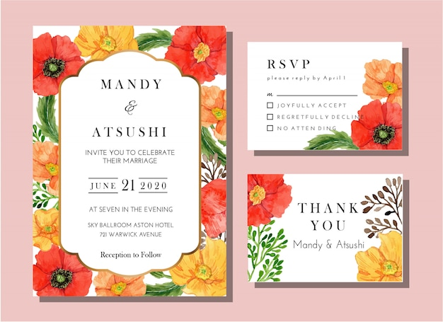 Watercolor poppy flower invitation card classic template