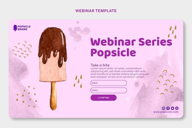 Modello di webinar per ghiaccioli ad acquerello