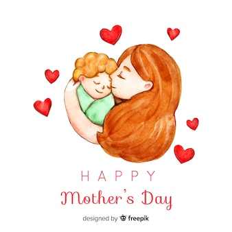 Watercolor portrait mother's day background