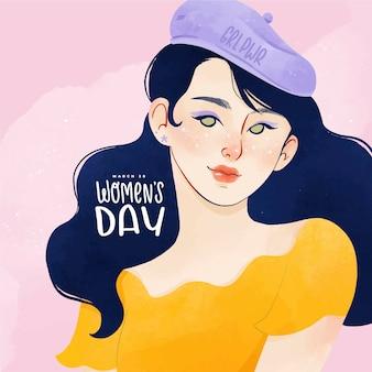 Акварельный портрет женщины на международный женский день