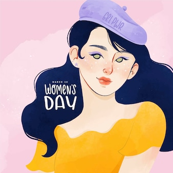 Watercolor portrait of woman for international women's day
