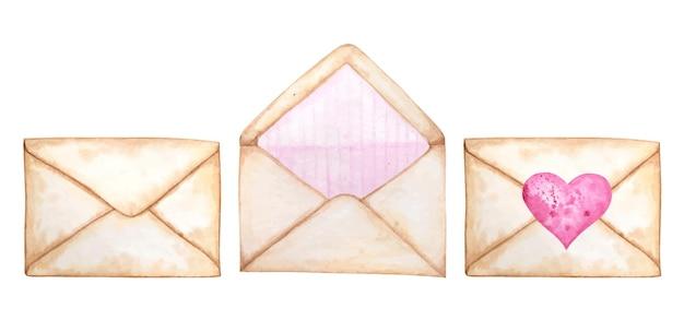발렌타인을위한 수채화 우편 봉투 세트