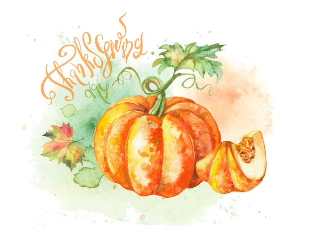 Watercolor postcard with pumpkin