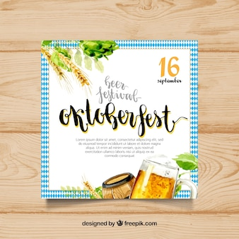 Watercolor poster for oktoberfest party