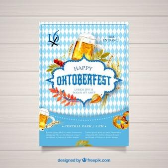 Watercolor Poster For Oktoberfest Vector
