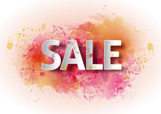 Watercolor poster sale. bright watercolor background, percent, discount, price, seasonal sale.