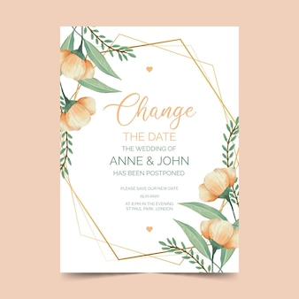 Watercolor postponed wedding card template with flowers