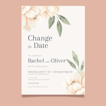 Watercolor postponed wedding card