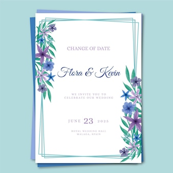 Watercolor postponed wedding card