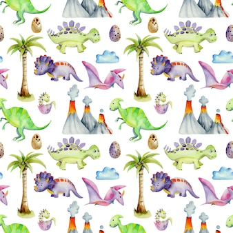 Watercolor prehistoric dinosaurs seamless pattern