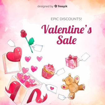 Watercolor presents valentine sale background