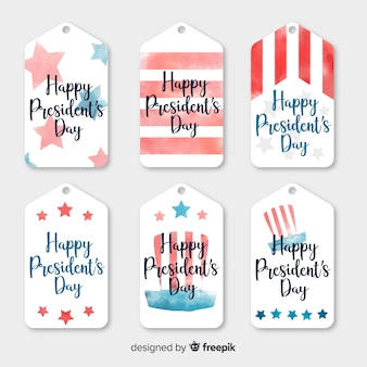 Watercolor president day label set