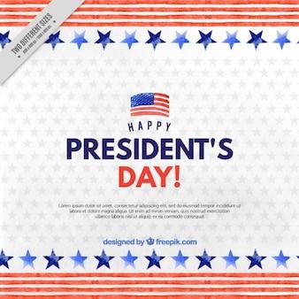 青とグレーの星と水彩大統領の日の背景