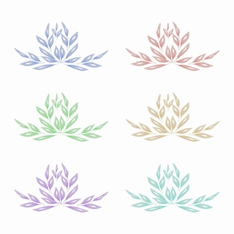 水彩プレス花の葉セットデザイン