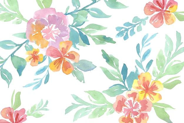 Watercolor pretty flowers with seamless pattern background