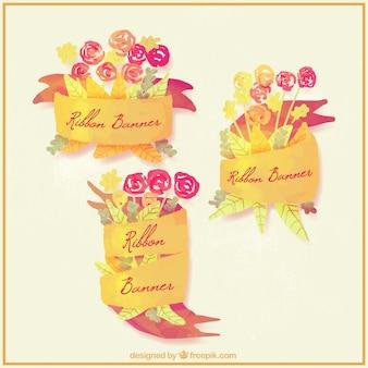 꽃 수채화 예쁜 노란 리본