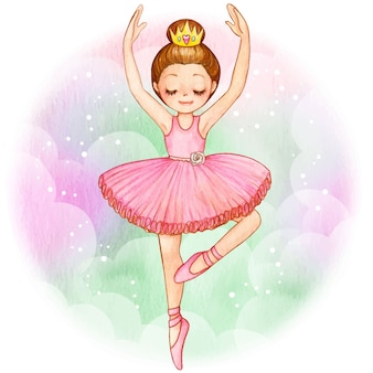 Watercolor princess ballerina brunette with golden crown
