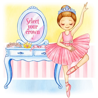 Watercolor princess ballerina with changeable crown and dressing table