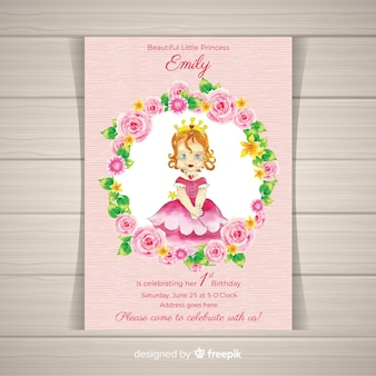 Watercolor princess party invitation template