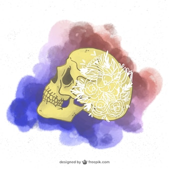 Watercolor profile skull with flower ornaments