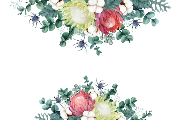 Watercolor protea flower with cotton flower and eucalyptus