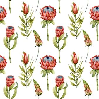 수채화 티아 꽃, 녹색 지점과 나뭇잎 원활한 패턴