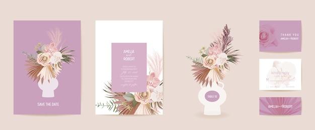 水彩プロテア、パンパスグラス、蘭の花のウェディングカード。ベクトルエキゾチックな花、熱帯のヤシの葉の招待状。自由奔放に生きるテンプレートフレーム。ボタニカルセーブザデイトの葉のカバー、モダンなデザインのポスター