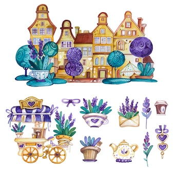 Watercolor provance decorative elements set with house, coffee cart and lavender flowers