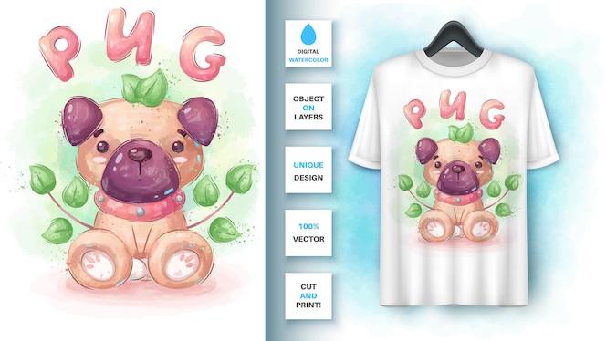 水彩パグ犬-ポスターとマーチャンダイジング