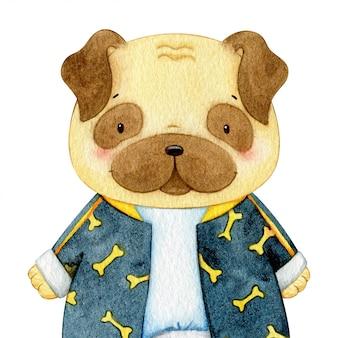 Акварельная иллюстрация щенка мопса. милый одетый персонаж животного
