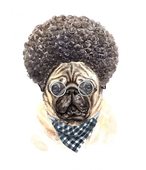 Watercolor a pug with glasses plaid scarf and afro hair.