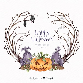 Watercolor pumpkin halloween frame