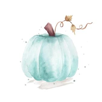 水彩カボチャのイラスト。白い背景で隔離の手描きのオレンジ色のカボチャ。秋のお祭りの装飾デザイン、グリーティングカード、招待状、ポスターに最適です。