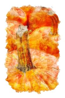 Акварельный рисунок тыквы