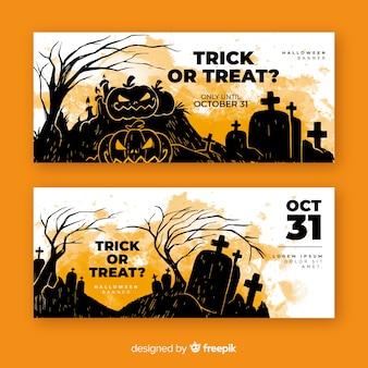 Watercolor pumpkins halloween banners