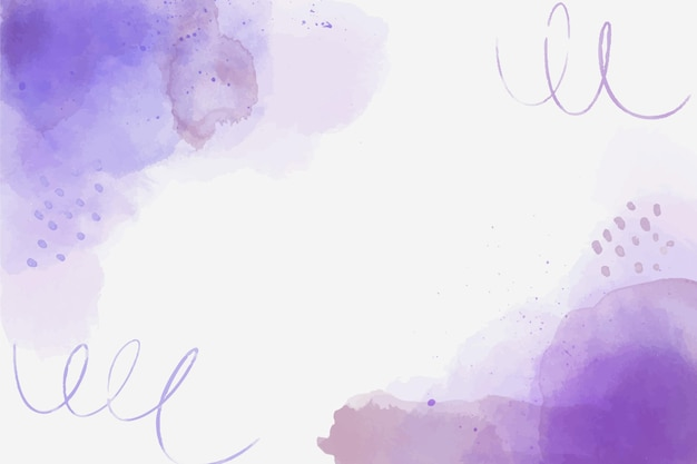 Watercolor purple abstract shapes background