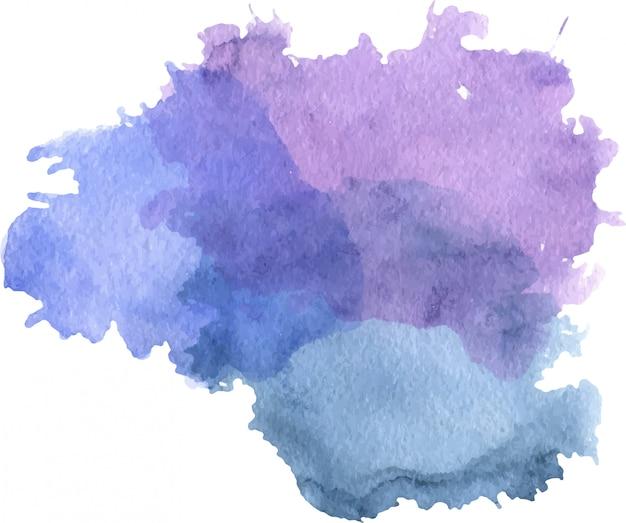 Акварель фиолетово-синее пятно с кляксами, текстура бумаги, изолированные