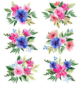수채화 보라색과 분홍색 꽃 꽃다발 컬렉션