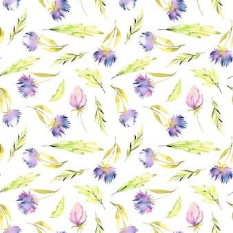 水彩紫のastersと緑の葉シームレスなパターン