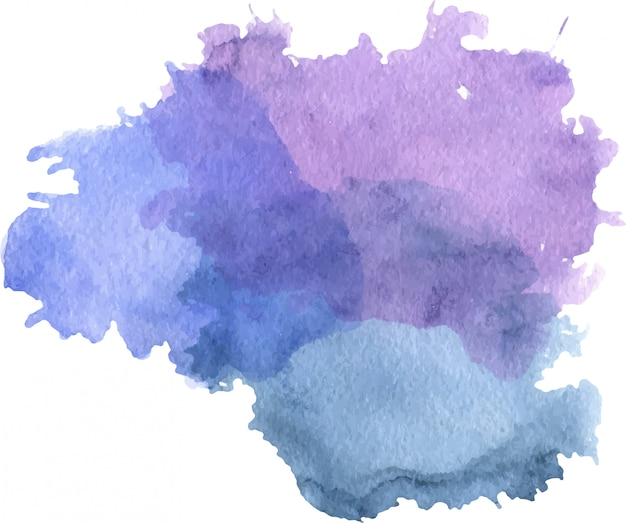 Watercolor purple and blue stain with blots, paper texture, isolated