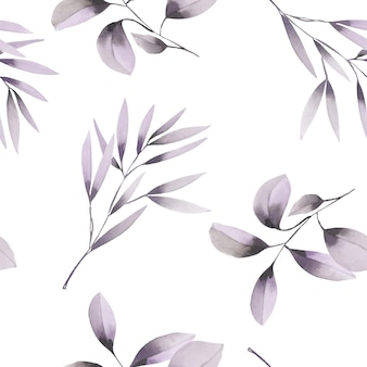 Watercolor purple branches seamless pattern