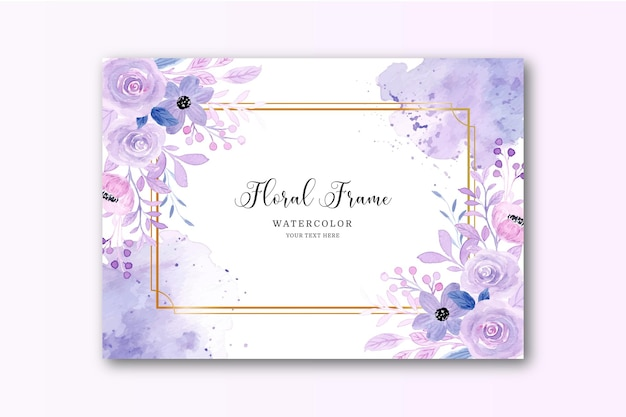 Watercolor purple floral background with golden frame