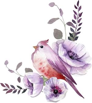自由奔放に生きるスタイルの鳥と水彩紫の花の構成