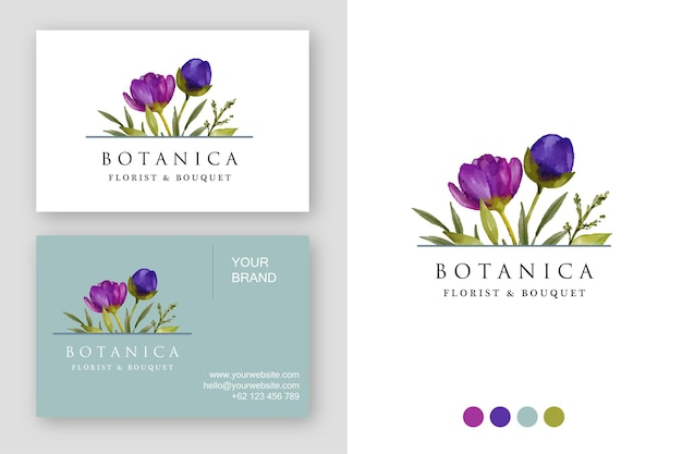 Watercolor purple floral logo design template and business card