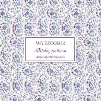 水彩画紫の花のペーズリー柄の装飾パターン