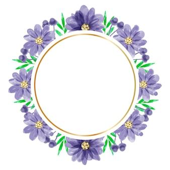 水彩紫の花フレームの背景