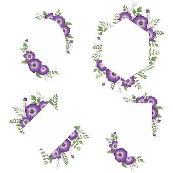 수채화 보라색 꽃 프레임 세트