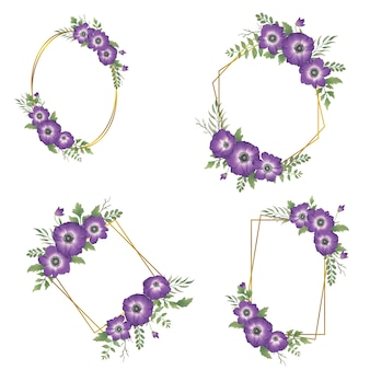 Акварель фиолетовая цветочная рамка с золотой каймой